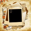 Stock Photo: Vintage background with polaroid frame and autumn leaves