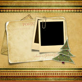 Vintage background with old Christmas card — Stock Photo