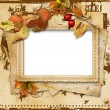 Vintage card with autumn leaves - Stock Photo