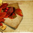 Vintage postcard with autumn leaves — Stock Photo #13523759