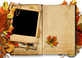 Vintage book with polaroid frame, autumn. — Stock Photo