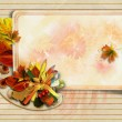 Vintage background with autumn card and pencils — Stock Photo