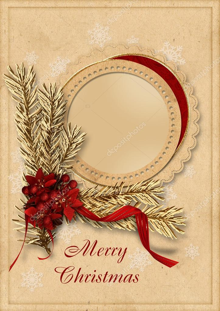 Victorian background with Christmas postcard, with space for photo and text.  famiy album — Stock Photo #13856829