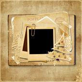 Cartolina di natale d'epoca con cornice polaroid — Foto Stock