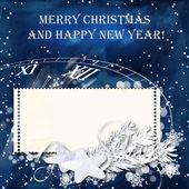 синий фон рождество снег с печать кадров — Стоковое фото