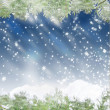 Stock Photo: Christmas blue background with snowflakes and pine branches