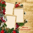Christmas frame with decorations on a wooden background - Stock Photo