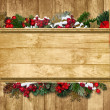 Christmas Greeting background with fir twig and holly — Stock Photo #16139053