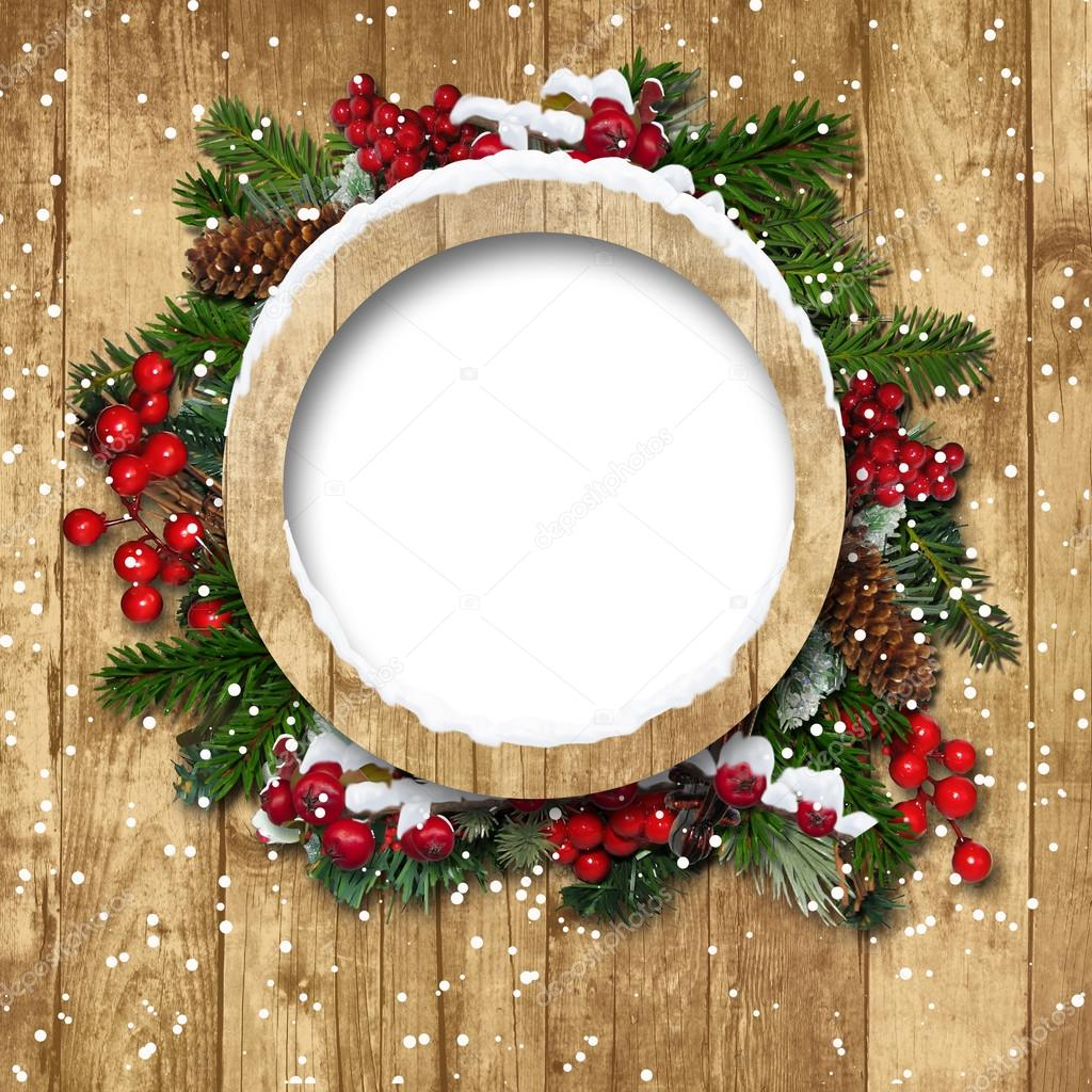 Christmas frame with decorations on a wooden background for Background decoration images
