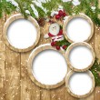 Christmas background with frame, Santa and fir twig decorations — Stock Photo