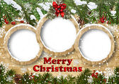 Christmas background with frame and fir twig — Stock Photo
