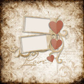 Grunge background with stamp-frames and paper heart — Stock Photo