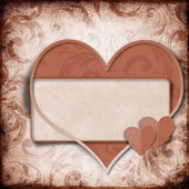 Vintage background with frame and heart — Stock Photo