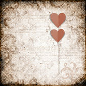 Grunge background with paper heart — Stock Photo
