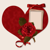 Happy Valentines Day. Beautiful photo-frame with heart and rose — Stock Photo