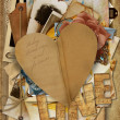 Vintage background with paper heart - Stockfoto