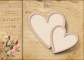 Vintage love card with pink flowers — Stock Photo