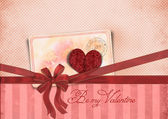 St. Valentine's Day card with ribbon and heart — Stock Photo