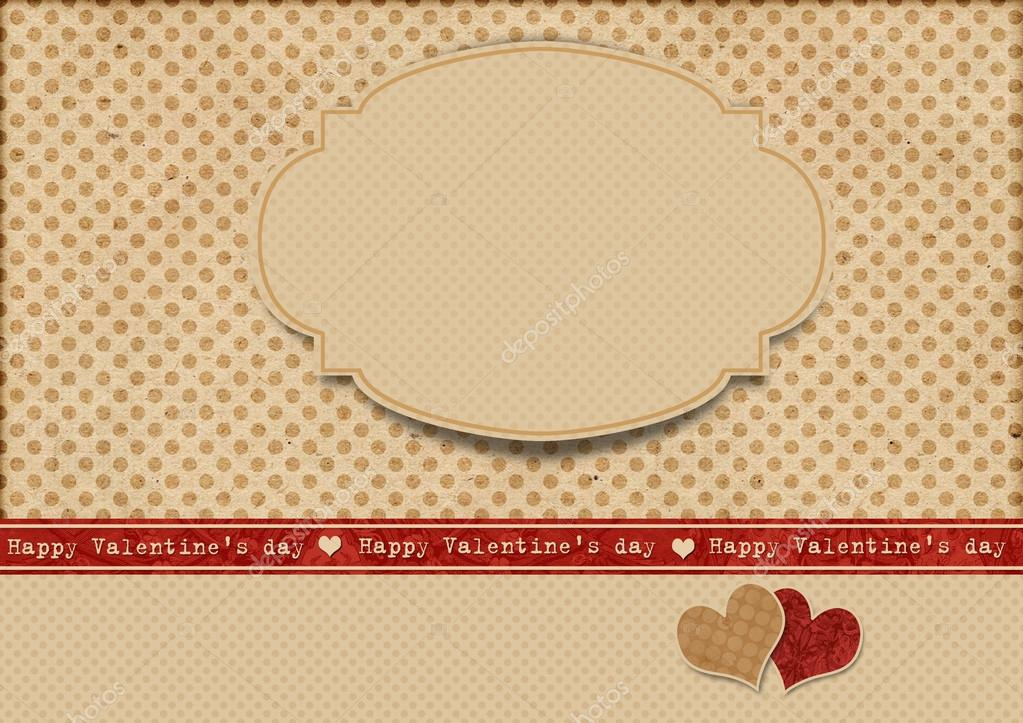 Vintage polka dot background with label. Happy Valentine's day — Stock Photo #19837643