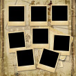 Vintage background with stack of old polaroid frame — Stock Photo