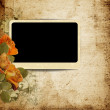 Vintage background with photo-frame and faded roses — Stock Photo