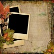 Grunge background with old postcards and autumn leaves  — Stock Photo