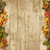 Vintage wooden background with autumn leaves — Stock Photo