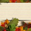 Stock Photo: Vintage paper autumn background with maple leaves and with postcard