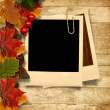 Autumn leaves and frame for photo — Stock Photo