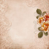 Vintage background with lace and roses — Stok fotoğraf