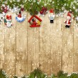 Christmas background with fir branches and decorations — Stockfoto