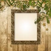 Christmas background with photo frame — Stock Photo