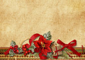Christmas card with poinsettia — Stock fotografie