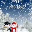 Christmas card with snowmen — Stock Photo