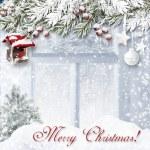 Christmas background with bullfinch — Stock Photo