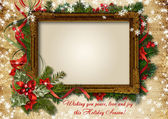 Vintage Сhristmas card with frame for photo or text — Stock Photo