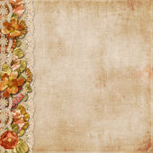 Vintage background with gorgeous flowers and lace — Стоковое фото