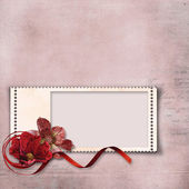 Background with flowers and stamp-frame — Stock Photo