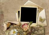 Background with photos, envelope and  flowers — Stock Photo