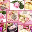 Stock Photo: Wedding accessories and roses
