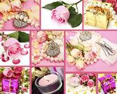 Svatební doplňky a růže — Stock fotografie
