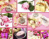 Wedding accessories and roses — Stockfoto