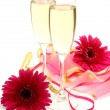 Wine and pink flower — Stock Photo