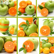 Ripe tangerines and green apples — Stock Photo