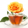 Cup with tea and roses — Stock Photo #13132363