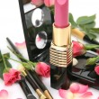 Decorative cosmetics and pink roses — Stock Photo #13348765