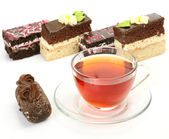 Appetizing cake and tea — Stock Photo