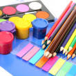 Stock Photo: Color paints and pencils