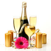 Champagne and flower — Stock Photo