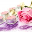 Pink rose and candle — Stock Photo #14275801